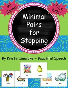 This packet includes minimal pairs to use with the phonological process of… Speech Therapy Games, Speech Language Pathology, Speech And Language, Phonological Processes, Phonological Awareness, Articulation Activities, Speech Therapy Activities, Expressive Language Disorder, Minimal Pair