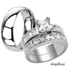 HIS HERS 3 PIECE MEN'S WOMEN'S STAINLESS STEEL ENGAGEMENT WEDDING RING BAND SET