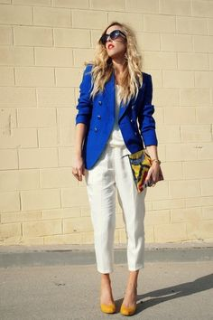 blue blazer street style - Buscar con Google