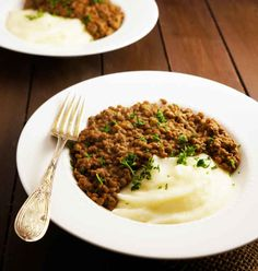 Creamy lentils and mashed potatoes
