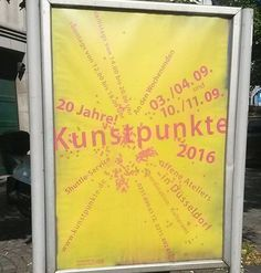Bald ist es wieder soweit: Kunstpunkte 2016. Am 3./4.9. und 10./11.9.2016 finden wieder die beliebten Kunstpunkte statt. Künstler/innen öffnen ihre Ateliers für alle interessierten in ganz Düsseldorf. An den Abenden des 2. und 9.9. gewähren die Off-Räume der Landeshauptstadt bereits Einblicke. Außerdem werden die Kunstpunkte bereits 20 Jahre alt ein Grund zum feiern! Viel Spaß!  #Kunstpunkte2016 #Düsseldorf #Ateliers #OffRäume #Kunst #Künstler #Wochenende