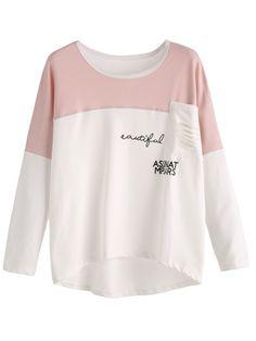 Camiseta con estampado de letras y bolsillo - blanco