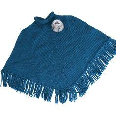 Poncho bleu pétrole en laine avec pompom en fourrure naturelle (lapin)