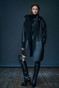ALLSAINTS: Women's lookbook 2014 September love the leather hoodie coat along with the thigh high boots!! Gangster!