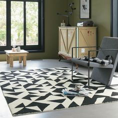 Nova Origami contemporary black and cream design rug