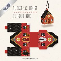 Christmas House Cut-Out Box - with ready to print templates! Check out all the… box template Mega Collection of 38 Cut-Out Christmas Box Templates Part 3 Christmas Paper Crafts, Holiday Crafts, Christmas Crafts, Christmas Decorations, Christmas Ornaments, Christmas Houses, Xmas, Christmas Colors, Merry Christmas