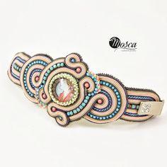 Soutache by polandhandmade Soutache Bracelet, Soutache Jewelry, Beaded Jewelry, Clay Jewelry, Jewelry Crafts, Handmade Bracelets, Handmade Jewelry, Soutache Tutorial, Passementerie