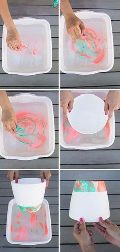 DIY pastel marbled hanging planter from Oh Joy