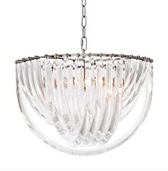 Acrylic | Polished Nickel Finish This stylish luxury chandelier is formed of a series of acrylic drops which let reflected light sparkle from the internal light fittings. Each chandelier has a circula