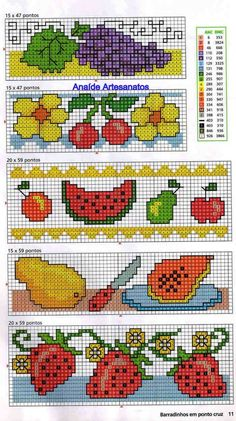 Anaide Ponto Cruz: Lindos gráficos mini de frutas em ponto cruz!!!!!!segunda parte!!!!!!