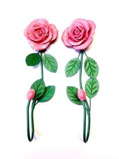 Pink Rose Flower Wall Hooks Set Of 2 ABC Distributing Inc 1999 Home Decor Hook