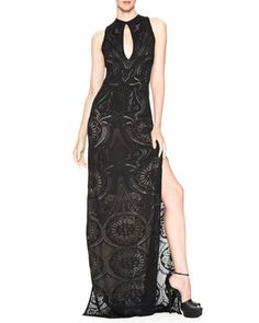 Side-Slit Keyhole Gown by Roberto Cavalli at Bergdorf Goodman.