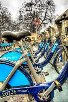 Boris bikes, Green Park.  Boris bikes named for Boris Johnson, former Mayor of London
