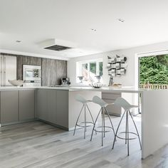 Image result for WHITE HANDLELESS KITCHEN WITH CALACATTA MARBLE