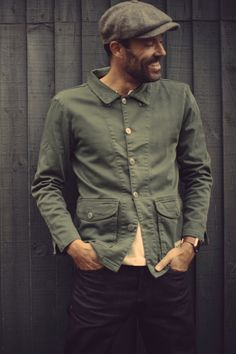 The &SONS Carver Jacket is versatile and constructed from heavy cotton twill in army green. Old Man Fashion, Fashion Books, Look Fashion, Mens Fashion, Hipster Looks, Rugged Style, Denim Jacket Men, Well Dressed Men, Men Casual