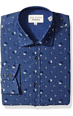 "Ted Baker Men's Malonne Dress Shirt, Blue, 16.5"" Neck 32""-33"" Sleeve ❤ Ted Baker Limited Men's Collections"