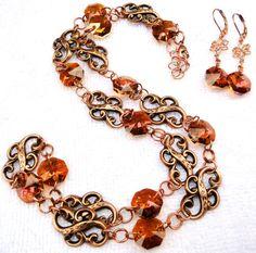 Infinity Crystal Necklace  Swarovski Crystal Copper by jlisiecki, $40.00