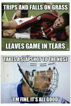 """There are sports, and then there are sports. A grass stain for some, is a game-ender. Hockey players are a whole other breed. Slapshot to the face? """"I'm fine, all Good! Blackhawks Hockey, Hockey Mom, Field Hockey, Hockey Stuff, Chicago Blackhawks, Stars Hockey, Funny Hockey Memes, Hockey Quotes, Soccer Jokes"""