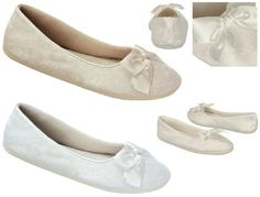 NEW Sheila Bridal Ballet Flats, Indoor Outdoor Sole White, Ivory Lace Satin Bow #BalletFlats
