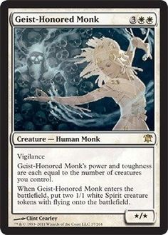Magic: the Gathering - Geist-Honored Monk - Innistrad by Wizards of the Coast. $0.56. This is of Rare rarity.. A single individual card from the Magic: the Gathering (MTG) trading and collectible card game (TCG/CCG).. From the Innistrad set.. Magic: the Gathering is a collectible card game created by Richard Garfield. In Magic, you play the role of a planeswalker who fights other planeswalkers for glory, knowledge, and conquest. Your deck of cards represents all the weapons in yo...