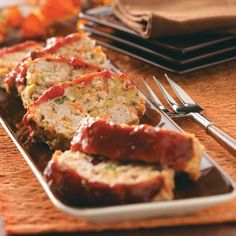 Just-Like-Thanksgiving Turkey Meat Loaf Recipe -For a holiday meal any time of year, this tender turkey meat loaf is perfect. Complemented with a cranberry glaze, it's a mouthwatering dish.—Mollie Brown, Los Angeles, CA
