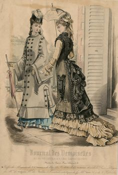 Journal des Demoiselles 1876. Victorian fashion plate, first bustle period. The dress on the right has a parasol pocket!