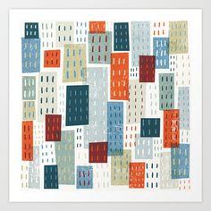 Colorful City Pattern Art Print by Michael Mullan