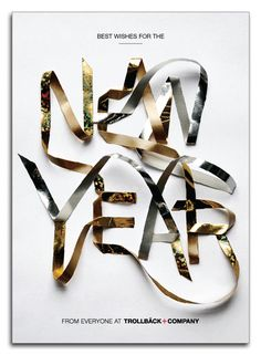 New Year Card by Trollback + Company (Type Design/Lettering) Graphisches Design, Cover Design, Print Design, Typography Love, Graphic Design Typography, New Year Typography, Dm Poster, Posters, Inspiration Typographie