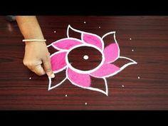 Learn how to draw simple rangoli designs with cross dots - easy kolam - muggulu rangoli 7 dots Rangoli Designs Peacock, Very Easy Rangoli Designs, Rangoli Border Designs, Small Rangoli Design, Rangoli Designs Diwali, Rangoli Designs With Dots, Rangoli Designs Images, Beautiful Rangoli Designs, Simple Rangoli With Dots