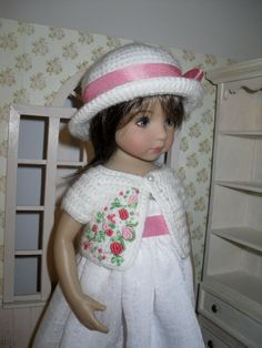 Crochet set for Dianna Effner Little Darling 13 inches doll including:  - hat, - bolero.   All items are handmade and embroidered.  This listing