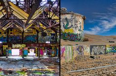 Slab City, California is an artist commune along the Salton Sea in the desert, built entirely upon the concrete remains of an old military base. Whereas Burning Man is an annual event, the festivities in these parts carry on year round. You can camp here for free; better bring a bagged lunch to avoid the local cuisine.