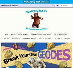 Dancing Bear's Rocks and Minerals- Activity Kits for Kids + more. - Website by :: Call today - Discovery Kit, Portfolio Logo, Home Activities, Kits For Kids, Party Bags, Rocks And Minerals, Dancing, Shots, Bear