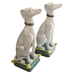 Massive Pair of Italian Majolica Dogs