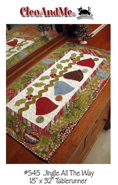 quilts, redwork, applique, cats, Cleo And Me Patterns Table Runner And Placemats, Table Runner Pattern, Quilted Table Runners, Small Quilts, Mini Quilts, Christmas Sewing, Christmas Projects, Christmas Quilting, Crochet Christmas