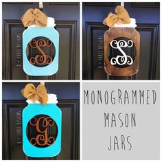 This makes a great southern welcoming summer wooden door hanger. This hand painted and sealed mason jar wooden door hanger is made out of 1/2 birch wood and measures 18 inches tall by 11 inches wide. It comes painted with a wire door hanger, and large burlap bow. We can paint the monogram and jar any color you would like. Please put the monogram letter and color you would like in the Notes to Seller box at checkout! Alternate bow colors are available at no extra charge upon request! Ple... Wooden Door Hangers, Wooden Doors, Wooden Signs, Mason Jar Flowers, Mason Jars, Marble Jar, Front Door Decor, Front Porch, Metal Wall Art Decor