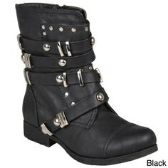 Hailey Jeans Co. Women's 'Brooklyn' Round Toe Studded Boots | Overstock.com black 8.5