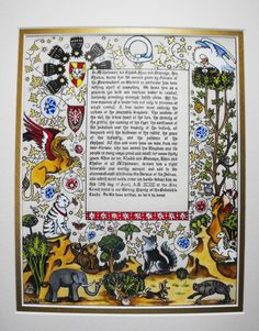 SCA Scroll - Calligraphy and Illumination by Baroness Una de Saint Luc, OL, OP, with wording by Maestra Giulietta da Venezia. Based on the Visconti Hours, 14th century, Italy. The person getting the award specifically wanted this illumination with the addition of some animals.