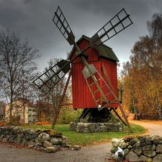 Hassleholm, Sweden, Windmill, Hdr, Fall, Autumn, Trees