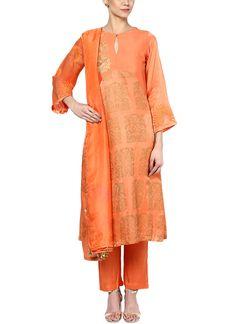 Devnaagri | Orange Block Printed Suit at strandofsilk.com