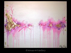 **GORGEOUS, GLITTERING, SHIMMERING, TRANQUIL PIECE**  Click on image for a larger view.  Title: Splash of Pink  Size: 40 x 30 x 3/4 Canvas: