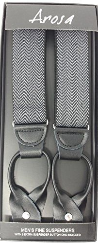 Arosa Mens Suspender Elastic X Back Pin Clip Leather Crosspatch ~ Gift Boxed ~ Black /& Light Navy Stripes