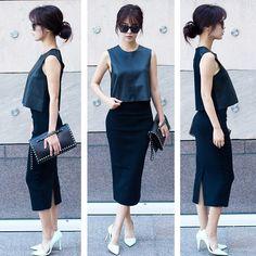 Get this look: http://lb.nu/look/7865192  More looks by JULLIANNE YOON: http://lb.nu/jullianne  Items in this look:  Zara Crop Too, Zara Pencil Skirt, Valentino Clutch Bag, Banana Republic Pumps