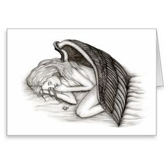 #greeting #card - A sleeping Angel , black and white ,  #NEW #Angel #Love #Fantasy #Art #Angels by Krisi ArtKSZP on #Zazzle - 14.92% OFF ALL ORDERS - Columbus Day Sale -  LAST DAY! Use Code: ZAZZSALEAWAY