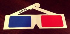 "3D glasses: make a basic door dec with construction paper or cardstock, or upgrade it by making the ""lenses"" with red and blue cellophane. For a template and more inspiration, check out theraguide.wordpress.com"