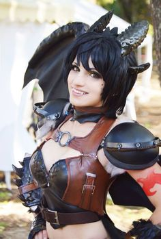 Toothless - How To Train Your Dragon cosplay by KICKAcosplay female half-dragon human form fighter cosplay costume LARP LRP leather armor clothes clothing fashion player character npc | Create your own roleplaying game material w/ RPG Bard: www.rpgbard.com | Writing inspiration for Dungeons and Dragons DND D&D Pathfinder PFRPG Warhammer 40k Star Wars Shadowrun Call of Cthulhu Lord of the Rings LoTR + d20 fantasy science fiction scifi horror design | Not Trusty Sword art: click artwork for…