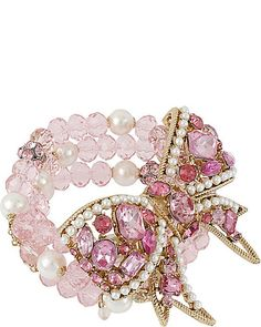 BETSEY JOHNSON                      CRYSTAL BOW BEAD BRACELET PINK