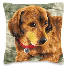 Dachshund with Collar Pillow Top - Cross Stitch, Needlepoint, Embroidery Kits – Tools and Supplies