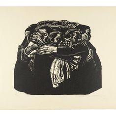 """Woodcut by Käthe Kollwitz (German, 1867–1945), 'The Mothers (Die Mütter)', c. 1920s, image = 13-1/2"""" x 15-3/4"""". • *Image and content from…"""