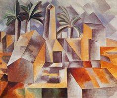 Georges Braque, route de l'estaque 1908. Kenmerken kubisme: het is een stilleven, vanuit verschillende invalshoeken geschilderd, verwarrend perspectief, dezelfde kleurtinten