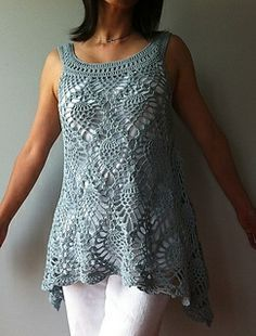 crochet pineapple A-line tunic by Vicky Chan http://www.ravelry.com/patterns/library/jordan---sleeveless-pineapple-top